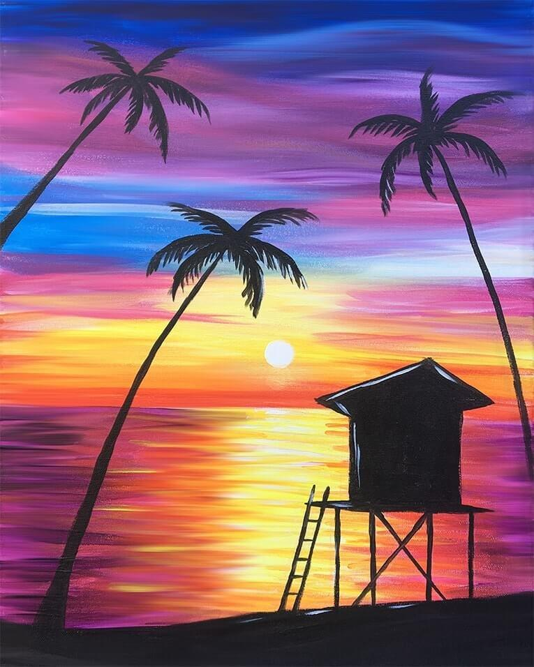 Sunset Painting Easy Beach Fantom Rd Shutterstock Com This Post May Contain Affiliate Links