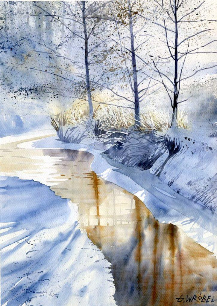 Watercolor Painting Winter Painting Ideas For Beginners It 039 S Not A Bad Idea To Paint Two Or Three Of These Vignettes At The Same Time